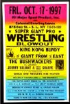 "1997 Wrestling Poster Bushwackers King Kong Bundy 17"" x 26"""