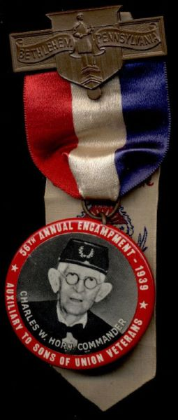 1939 56th Annual Encampment Auxiliary to Sons of Union Veterans Bethlehem Button