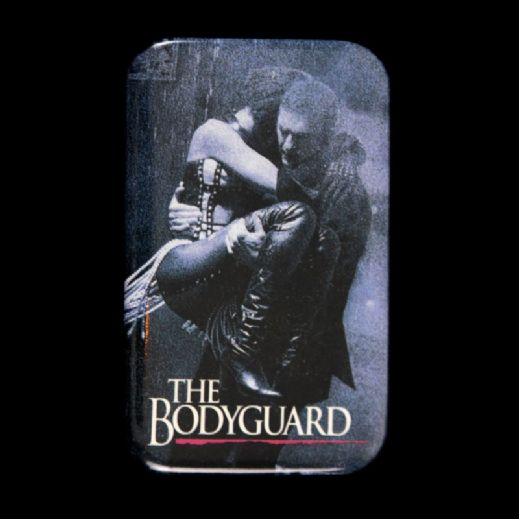 "1992 The Bodyguard Kevin Costner Whitney Houston 1 3/4"" x 2 3/4"" Pinback Button"