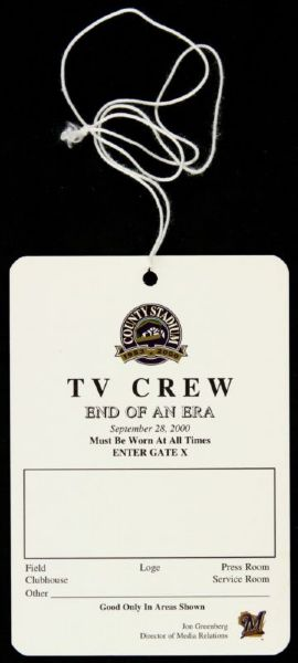 "2000 Milwaukee Brewers 3 1/2"" x 5"" TV Crew Press Pass- Final Game County Stadium"
