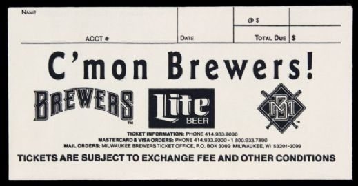 1995 Milwaukee Brewers Ticket Envelope