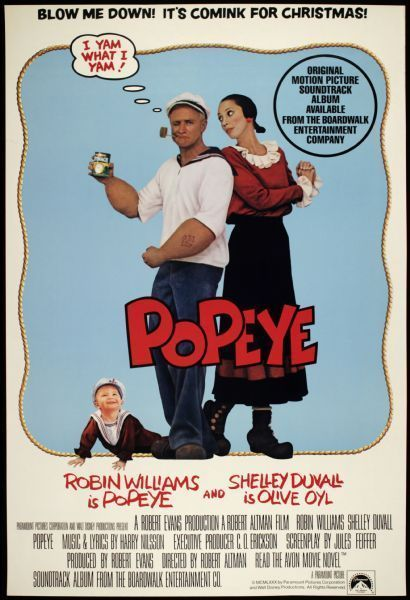 "1980 Popeye One Sheet (27"" x 41"") Original Movie Poster  Robin Williams"
