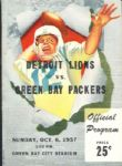 1957 Packers vs. Lions Football Program