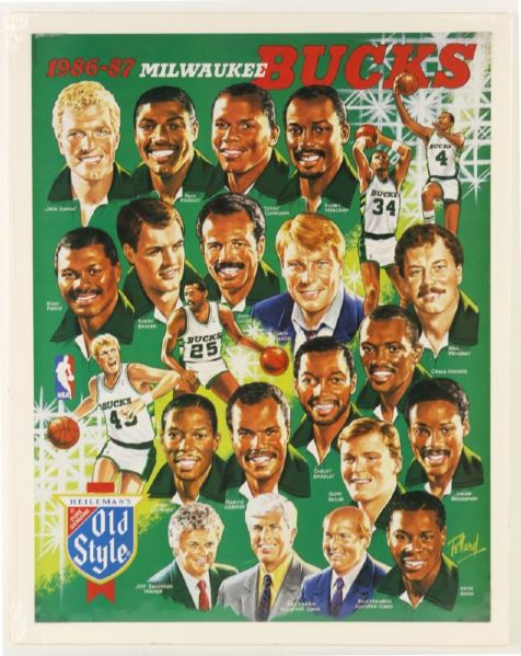 "1985-86 Milwaukee Bucks Old Style 19"" x 24"" Poster"
