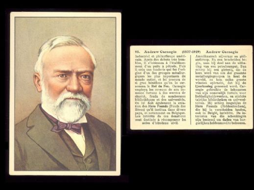 1920 circa Andrew Carnegie foreign trade card Captain of Industry