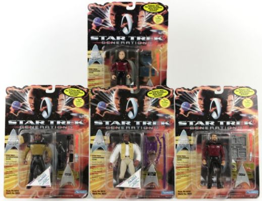 1994 Star Trek Generations - 4 Figures in Original Package-2 Worf, Picard, Riker