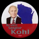 "1994-2006 Re-Elect Senator Herb Kohl Wisconsin 2 1/2"" Campaign Pinback Button"