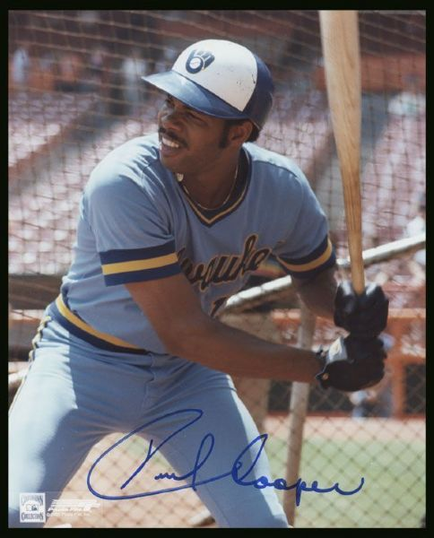 1977-87 MIlwaukee Brewers Cecil Cooper Autographed 8x10 Photo JSA Hologram