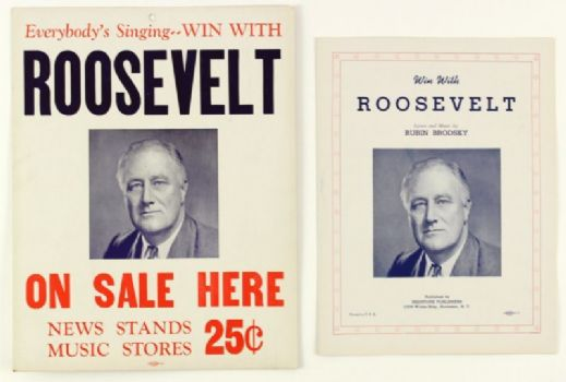 "1940 WW2 Win With Roosevelt Sheet Music & 11"" x 14"" 2-Sided Broadside - Lot of 2"