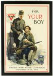 "1918 WW1 YMCA United War Work Campaign ""For Your Boy"" 22"" x 32"" Framed Poster"