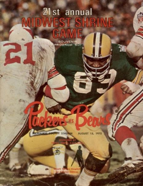 1970 Packers vs. Bears Midwest Shrine Game Program w/ HOFer Dave Robinson Cover