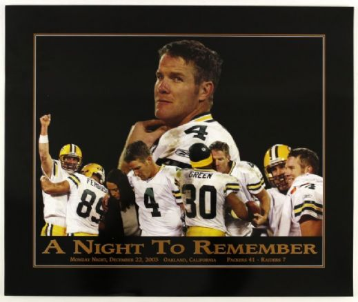 "2003 Brett Favre Green Bay Packers A Night To Remember 19"" x 24"" Poster"