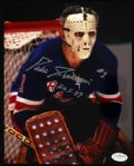 1967-75 Eddie Giacomin Rangers Red Wings Signed Autographed Photo 8 x 10 HOF JSA
