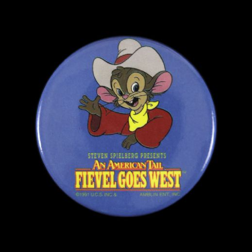 "1991 Fievel Goes West  2 1/4"" Steven Spielberg Movie Pinback Button"