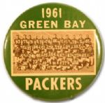 1961 Green Bay Packers Lombardi First NFL Title Team Photo Pinback button 6""