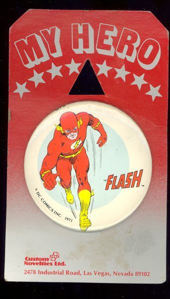 1971 The Flash 3 inch Celluloid Pinback button on Original Display Card