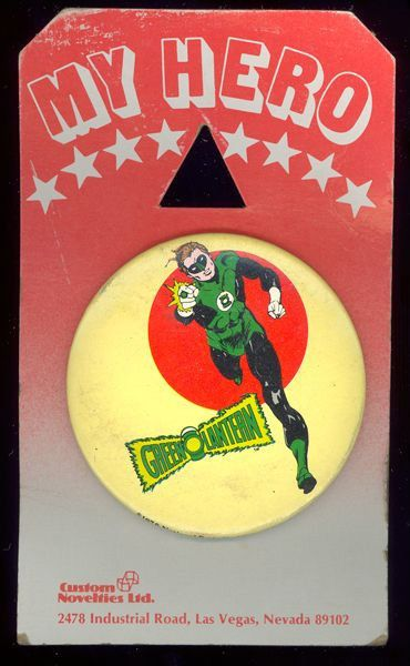 1978 Green Lantern 3 inch Celluloid Pinback button on Original Display Card
