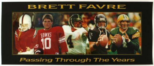 "1990s Brett Favre Green Bay Packers Passing Through The Years Poster 18"" x 24"""