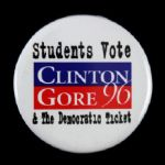"1996 Students Vote Bill Clinton Al Gore 2 1/8"" Campaign Pinback Button"