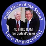 "2008 No 3rd Term for George Bushs Policies Vote Democratic 3"" Pinback Button"