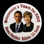 "2012 Barack Obama Tammy Baldwin 2 1/8"" Political Campagin Pinback Button"