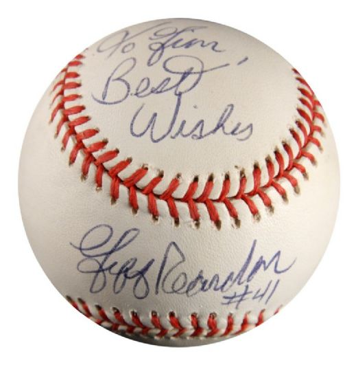 1994-99 Signed Jeff Reardon Expos Twins ONL Baseball w/Personalization (JSA)