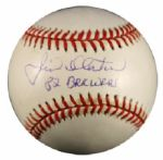1994-99 Jim Slaton Signed OAL Budig Baseball w/82 Brewers (JSA Basic Cert)