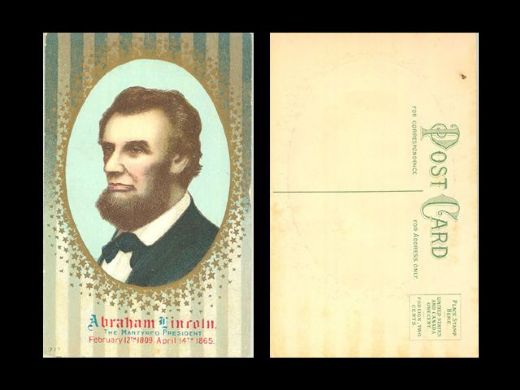 1907-14 Abraham Lincoln The Martyred President gold foil embossed postcard