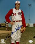 1966-68 Cincinnati Reds Milt Pappas Autographed 8x10 Color Photo JSA Hologram