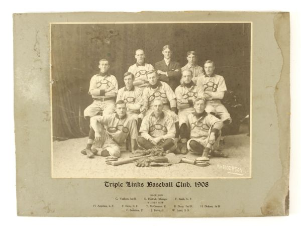 "1908 Triple Links Baseball Club 12"" x 16"" Mounted Team Photo"