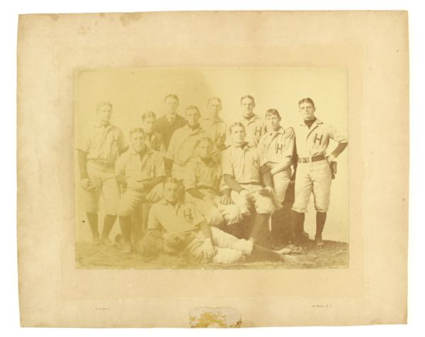 "1890s circa ""H"" New York Baseball Club 15.5"" x 19.5"" Mounted Team Photo"