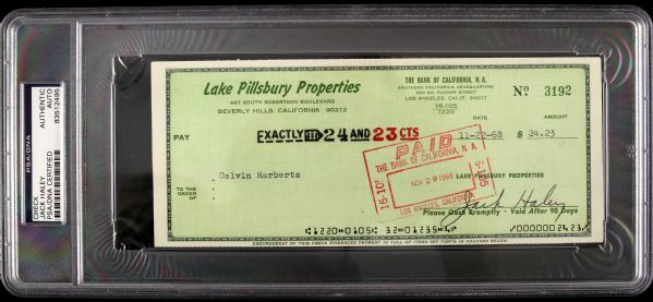 "1968 Jack Haley ""Wizard of Oz Tin Man"" Signed Check (PSA/DNA Slabbed)"