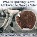 1915-30 Spalding Buckle back Game Worn Glove (Attributed to George Sisler) MEARS / Monne Farrell LOA