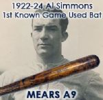 "1922-24 Rookie Era Al Simmons Block Letter Milwaukee Brewers/Philadelphia Athletics H&B Louisville Slugger Professional Model Game Used Bat (MEARS  A9) ""Returned To H&B For His First Signature Model"