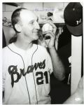 "1963-65 Warren Spahn Milwaukee Braves ""Kissing the Victory Baseball"" Autographed Original 16x20 Hand Developed Photo (JSA) ""Signed During His Final Milwaukee Appearance"""