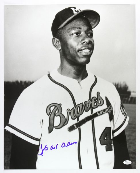 1954-56 Hank Aaron Milwaukee Braves Frank Stanfield Autographed Original 16x20 Hand Developed Photograph (JSA)