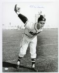 "1954-56 Warren Spahn Milwaukee Braves ""The Wind Up"" Frank Stanfield Autographed Original 16x20 Hand Developed Photo (JSA) ""Signed During His Final Milwaukee Appearance"""