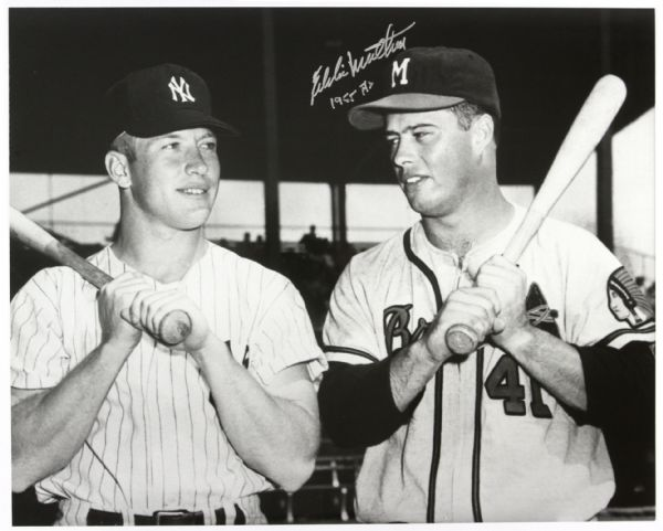 1955 Eddie Mathews Milwaukee Braves w/ Mickey Mantle at the All Star Game At County Stadium Autographed Original 16x20 Hand Developed Photo (JSA)