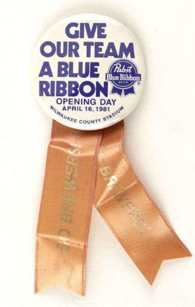 "1981 Milwaukee Brewers Pabst Blue Ribbon Opening Day 2 1/4"" Pinback w/ Ribbon"