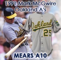 free shipping 253aa f9500 Lot Detail - 1991 Mark McGwire Oakland Athletics Game Worn ...