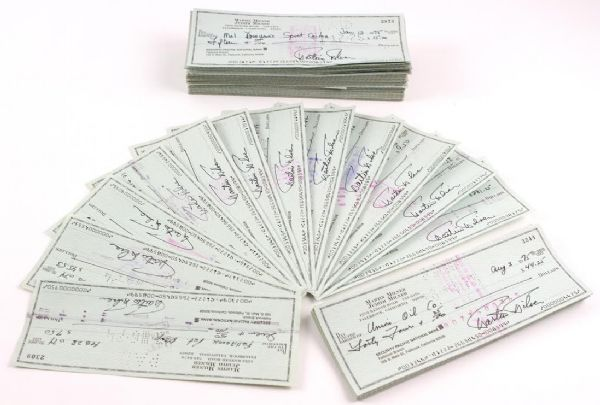 1974-75 Martin Milner Route 66 Adam-12 Signed Personal Checks - Lot of 50