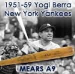 "1951-59 Yogi Berra New York Yankees Signed H&B Louisville Slugger Professional Model Game Used Bat (MEARS A9/JSA) ""Painted 8, Used During 5 World Championship Span"""