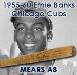 "1955-60 Ernie Banks Chicago Cubs Signed H&B Louisville Slugger Professional Model Game Used Bat (MEARS A8/JSA) ""Spans his 1958 & 1959 MVP Seasons"""