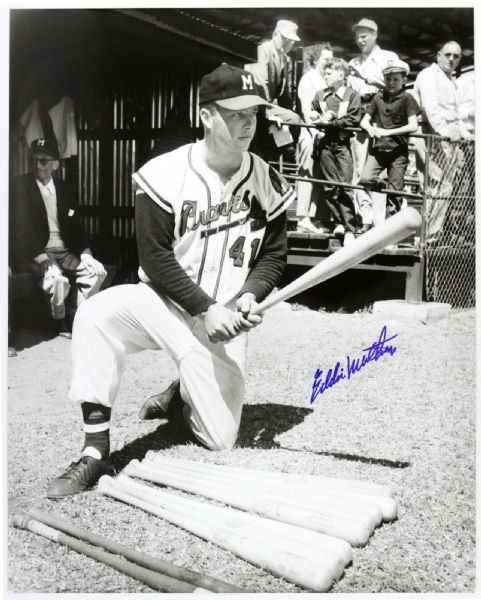 1954-56 Eddie Mathews Milwaukee Braves Young Autograph Hunter Signed 16x20 Photo