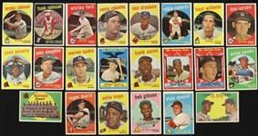 1959 Topps Baseball Trading Cards Partial Set (390/572) - Lot of 740 Cards w/ Doubles