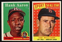 1958 Topps Baseball Trading Cards - Lot of 125 Cards
