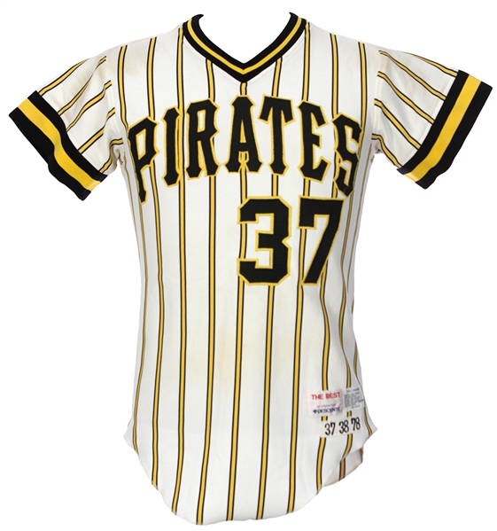 1978 Alberto Lois Pittsburgh Pirates Game Worn Home Jersey (MEARS LOA)