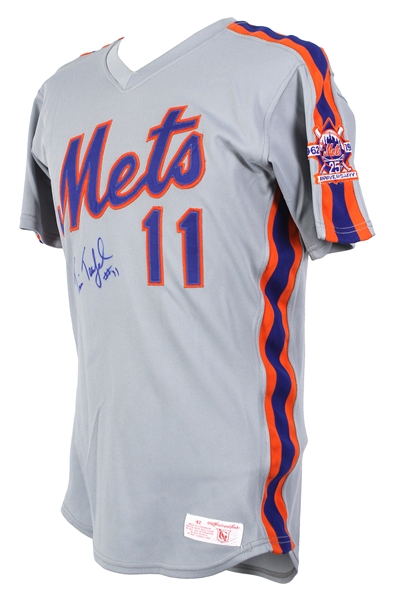 1986 Tim Teufel New York Mets Signed Game Worn Road Jersey (MEARS LOA/JSA) World Series Season