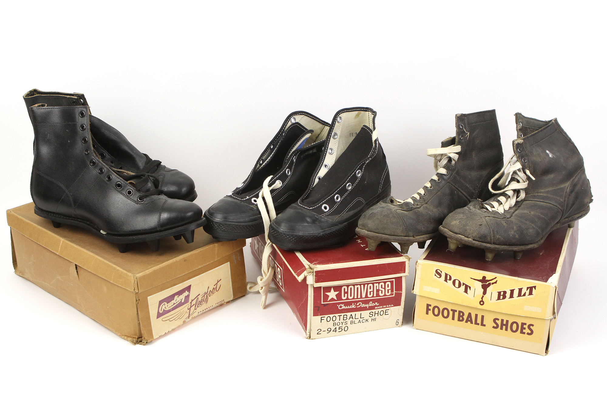 36c7a1d7f Lot Detail - 1950 s-60 s Game Worn Football Cleats w  Original Boxes ...