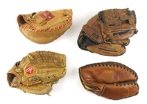 1940s-90s Store Model/Player Endorsed Fielders Mitts - Lot of 4 w/ Ted Simmons Catchers Mitt, Ferris Fain First Base Mitt & More